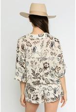 Olivaceous Floral Print Button Down