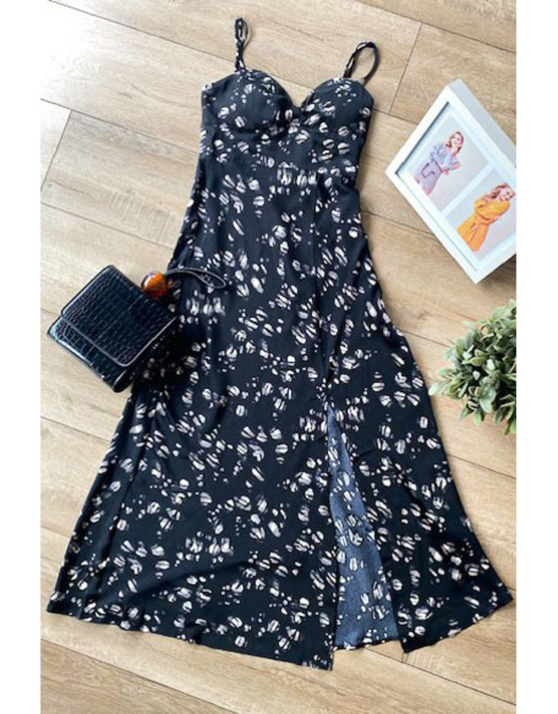 One and Only Collective Satin Floral Sweetheart Midi Dress