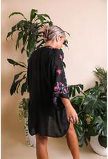 Leto Accessories Colorful Floral Embroidered Kimono