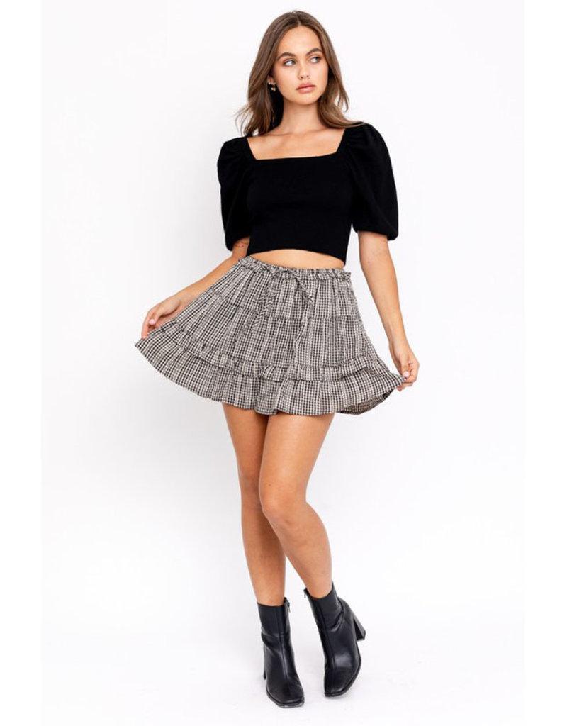 Le Lis Gingham Ruffle Skirt