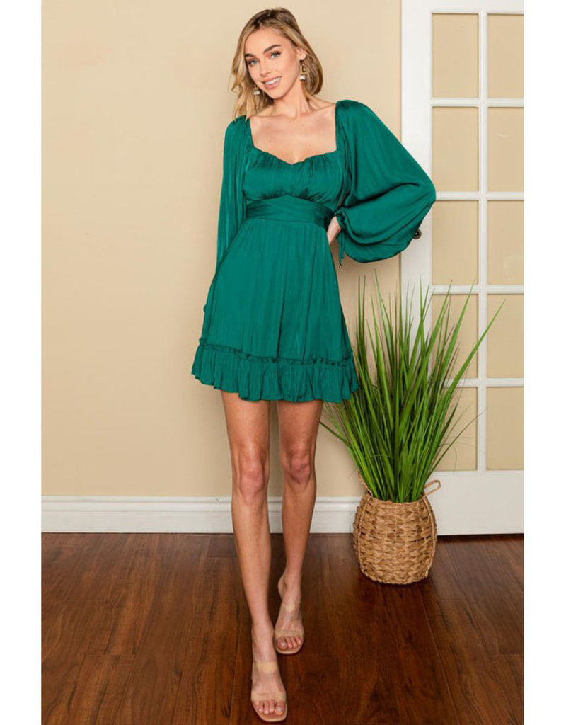 One and Only Collective Forest Satin Mini Dress