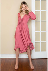 One and Only Collective Blush Satin Tie Front Midi Dress