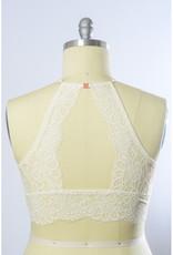 Leto Accessories High Neck Lace Racerback Bralette