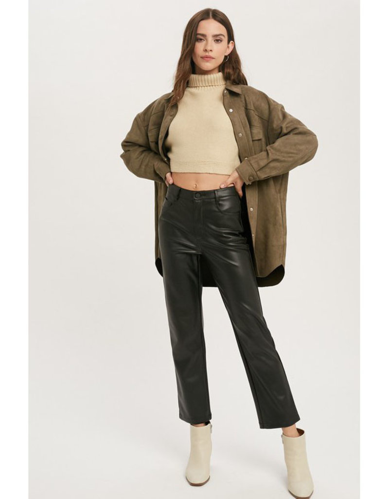 Miou Muse Vegan Leather Straight Leg Pants