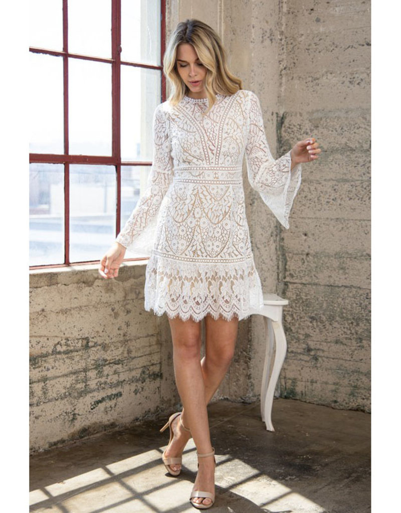 blue b. collection Lace Bell Sleeve Mini Dress