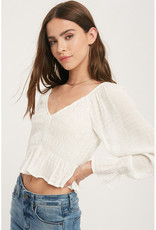 Miou Muse Long Sleeve Smocked Top