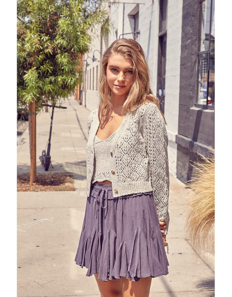 Miou Muse Textured Knit Button Cardi