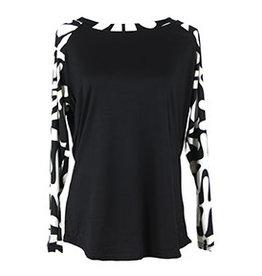 Hello Mello Long Sleeve Top Black/White Pattern  (S/M)