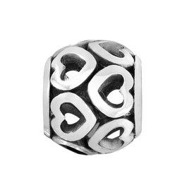 ABC Open Heart Bead silver