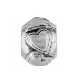 Billowy Hearts Mini Bead Silver