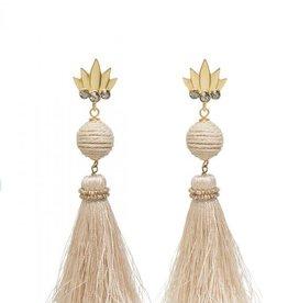 Spartina Pineapple Tassel Earrings Soft White
