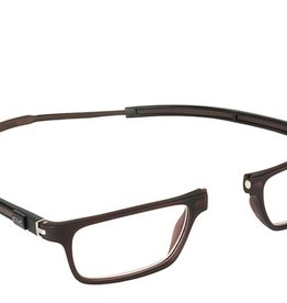 Clic Reading Glasses Tube Exec Matte Brown Reader 1.25