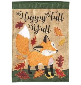 Happy Fall Y'all w/Fox Burlap Garden Flag