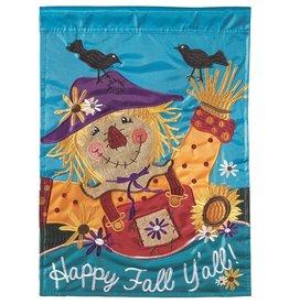 Happy Fall Y'all Scarecrow Burlap Garden Flag