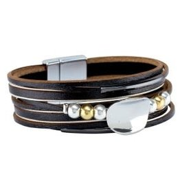 Bracelet-Black Leather Twotone