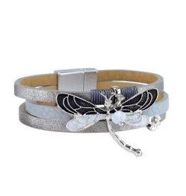 Bracelet-Gray Leather Dragonfly