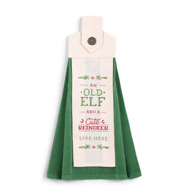 Old Elf Cute Reindeer Button Loop Tea Towel