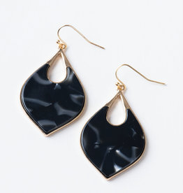 PL Teardrop Earrings Black/Gold