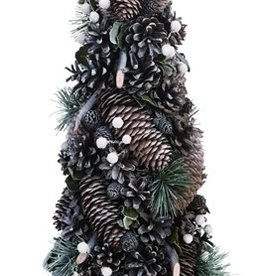 Small Natural Pine cone Tree with Green Accent
