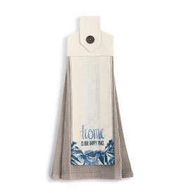 Home Is A Happy Place Kitcken Button Loop Tea Towel