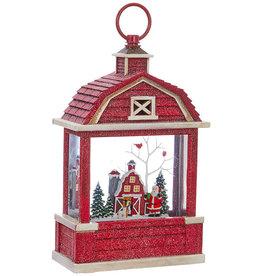 "RAZ Imports 10.75"" Santa Lighted Water Barn Lantern"