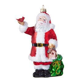 "RAZ Imports 5.5"" Santa with Cardinal Ornament"