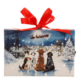 "RAZ Imports 6"" Dogs Watching Santa Lighted Print Ornament with Easel Back"
