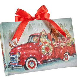 """RAZ Imports 6"""" Dogs in Truck Lighted Print Ornament with Easel Back"""