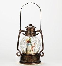 "11"" Swirl Snowman Dome Lantern"