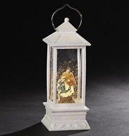 "11"" LED Swirl Lantern Holy Family White Lantern"