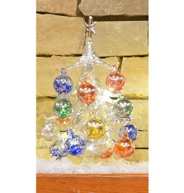 Gift Essentials Glass Tree Light Up W/Orn Argento Lucido Luminosa 25cm G