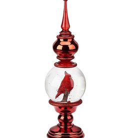 "16"" LED Swirl Finial w/Cardinal"