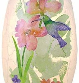 Watercolor Hummeringbirds Small Lighted Vase - Pink Flower