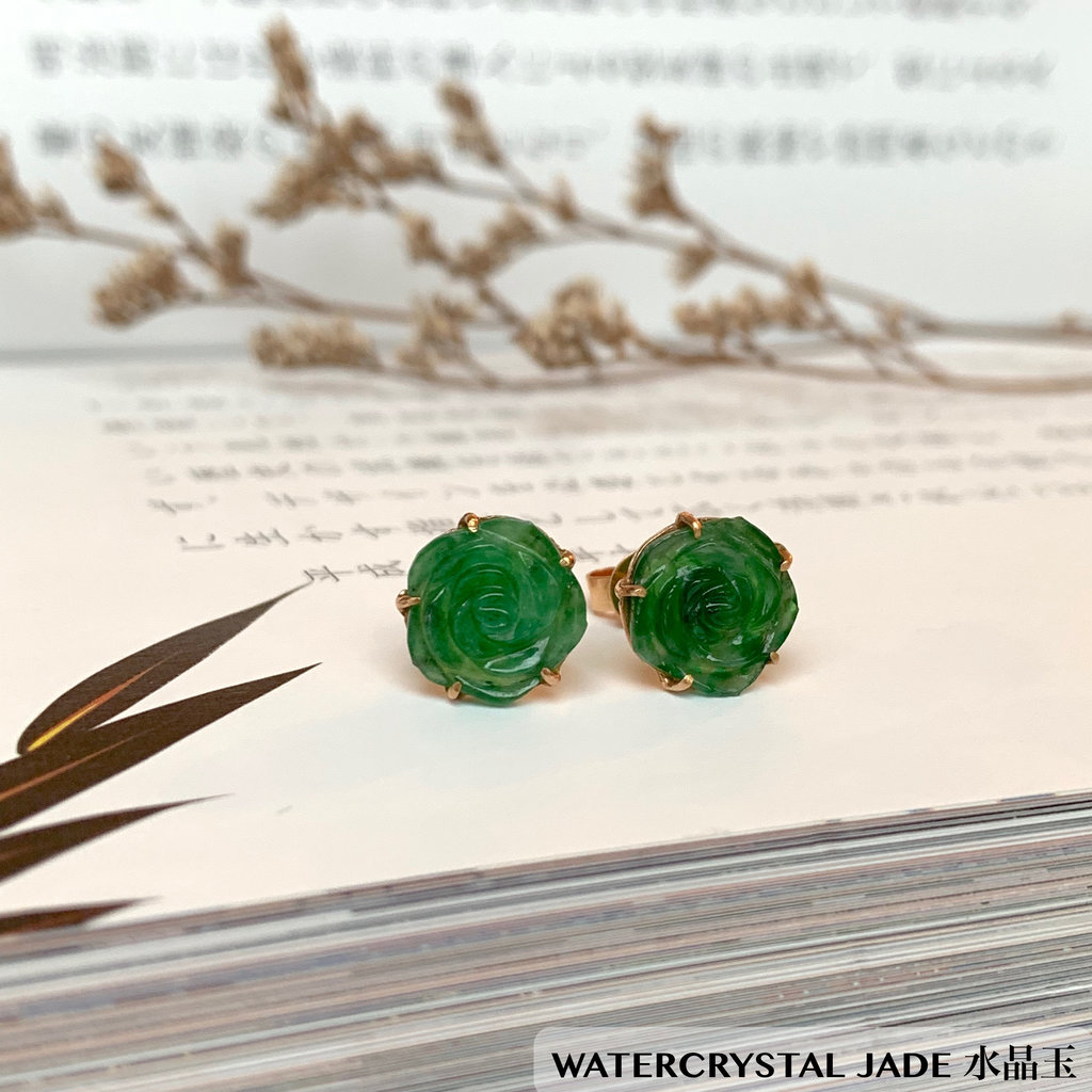 Jade Green Rose Earrings Flower Earrings