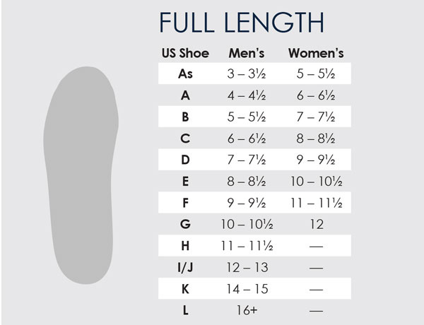 Powerstep Size Chart