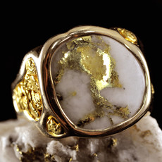 GOLD QUARTZ MEN'S RING RM832Q