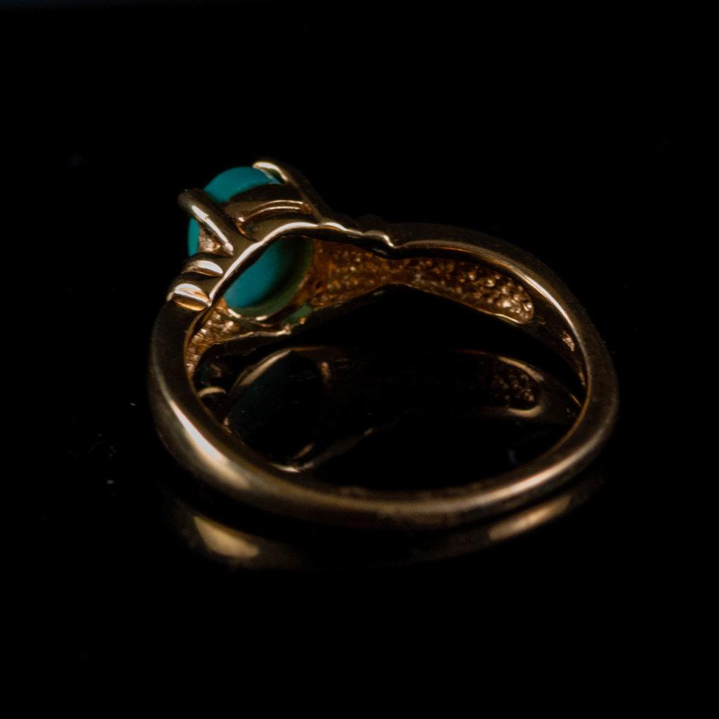 TURQ & GOLD 14KT RING RL664T