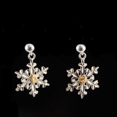 Snow Flake Earrings with Gold Nugget ESF30SN155/PD