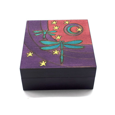 Wooden Box with Dragonflies