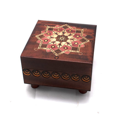 Wooden Box with Flower