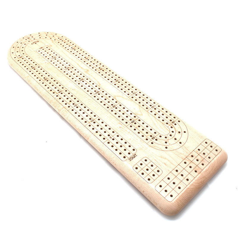 Continuous 3 Track Cribbage Board Maple