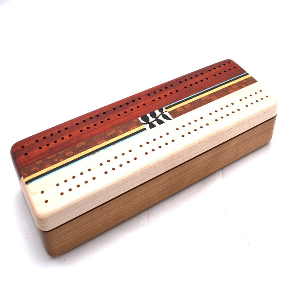 Marquetry Cribbage Board, Cherry