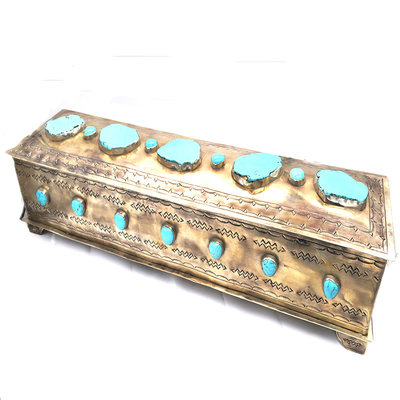Large Silver & Turquoise Mantle Box