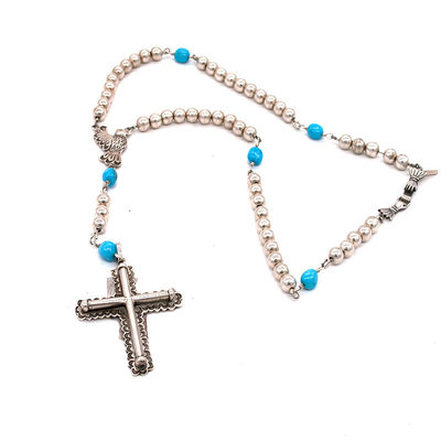 Federico Silver Beads w/Cross pendant  30""