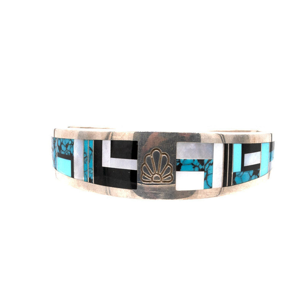 "Ray Tracy Inlay 7.25"" Cuff with Turquoise, Onyx Mother of Pearl"
