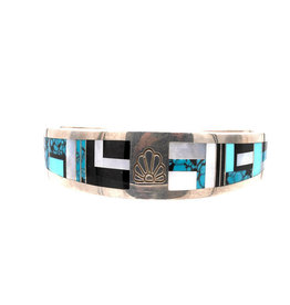 """Ray Tracy Inlay 7.25"""" Cuff with Turquoise, Onyx Mother of Pearl"""