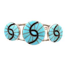 Turquoise Inlay Zuni Bracelet