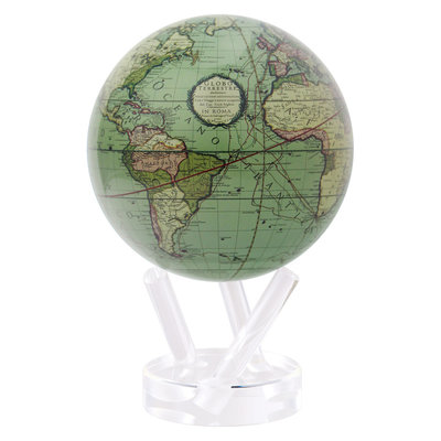 "Antique Terrestrial Green Globe 6"""