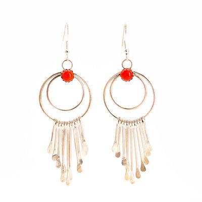 Coral Silver Dangle Earrings_NA0720E01