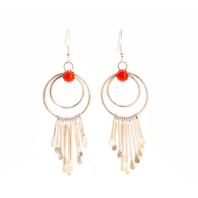 Coral Silver Dangle Earrings_NA0720E01